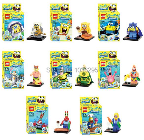 8pcs/set SpongeBob Figures Building Blocks Sets Minifigures Toys Bricks Compatible - United States Good Service Best Price store