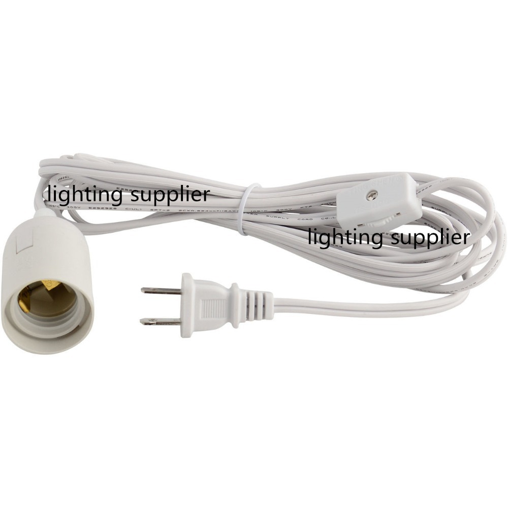 wholesale free shipping UL approved US E26 power cord with plug 12feet cable(China (Mainland))