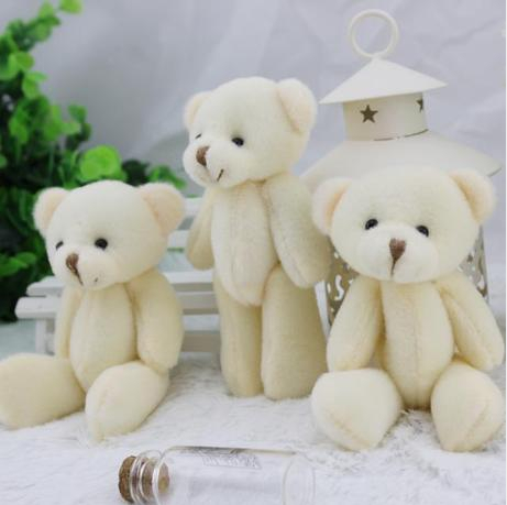 Promotion 2factory 12CM white jointed mini teddy bear small keychain/cartoon bouquet toy/wedding gifts - Women Beauty Store store