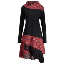 Rosegal, размера плюс, клетчатое кружевное женское платье, повседневное, прямое, стоячий воротник, длинный рукав, платье для женщин, Vestido, 2018, осе...(China)