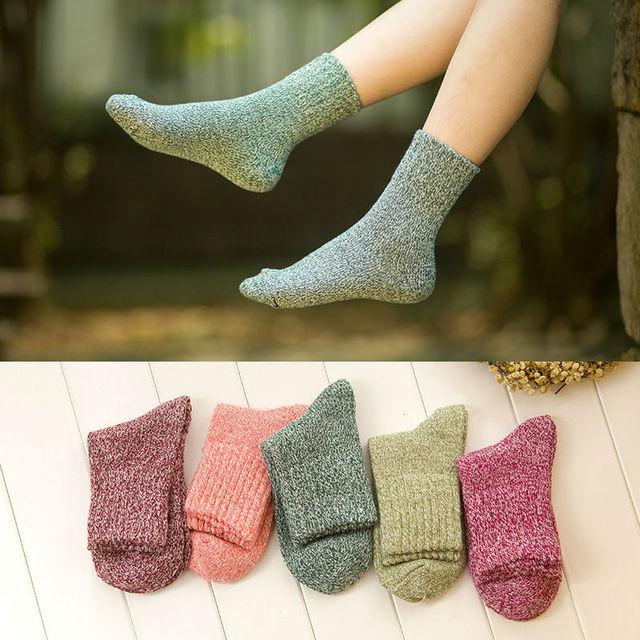 Новинка корейский мило твердого шерстяные носки зимние женщин каваи розовый фиолетовый теплые носки сладкий конфеты цвет тепловой толстые носки