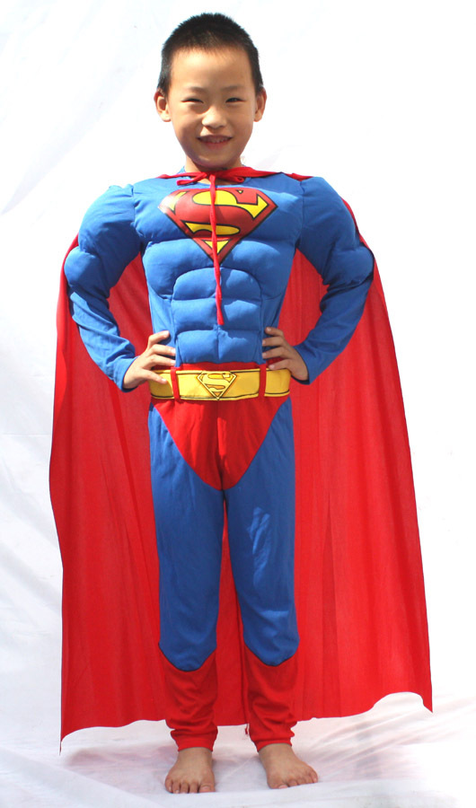 Free shipping , high quality children muscle superman costume clothes,halloween cosplay party muscle super hero costume ,cape(China (Mainland))