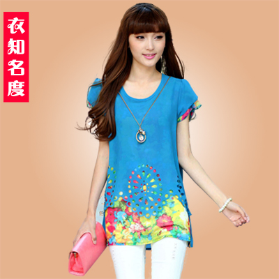 Summer cutout short-sleeve medium-long loose chiffon shirt