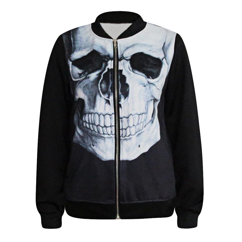 Professional For Men Women 3D Black White Skull Head Hip Hop Zipper Coat Jacket Unisex Outcoat ...