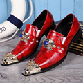 Christia Bella Fashion Genuine Leather Men Shoes Pointed Toe Business Formal Men Dress Shoes Red Wedding