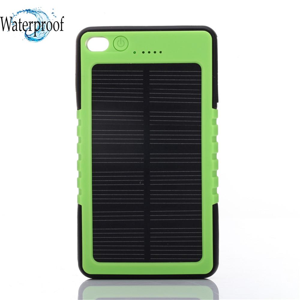 Waterproof Solar Power Bank Backup Battery 8000mAh Portable LED Solar Charger cargador portail para celular for Cellphone Laptop(China (Mainland))