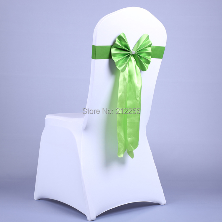 Free shipping 30PCS Long Free Line Back Bow Ties Elastic Lycra Chair Cover For Weddings Decors