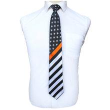 """JEMYGINS מקורי 100% משי דק כחול קו עניבת פסים אמריקאי דגל כוכב ארה""""ב משטרת Mens עניבה מעולה באיכות עניבת(China)"""