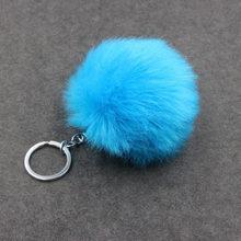 8 CM 29 Cores Pompom Fofo Chaveiro Bola de Pêlo de Coelho Bonito Creme Preto Artificial Pele De Coelho Chaveiro Carro Das Mulheres saco de chaveiro(China)