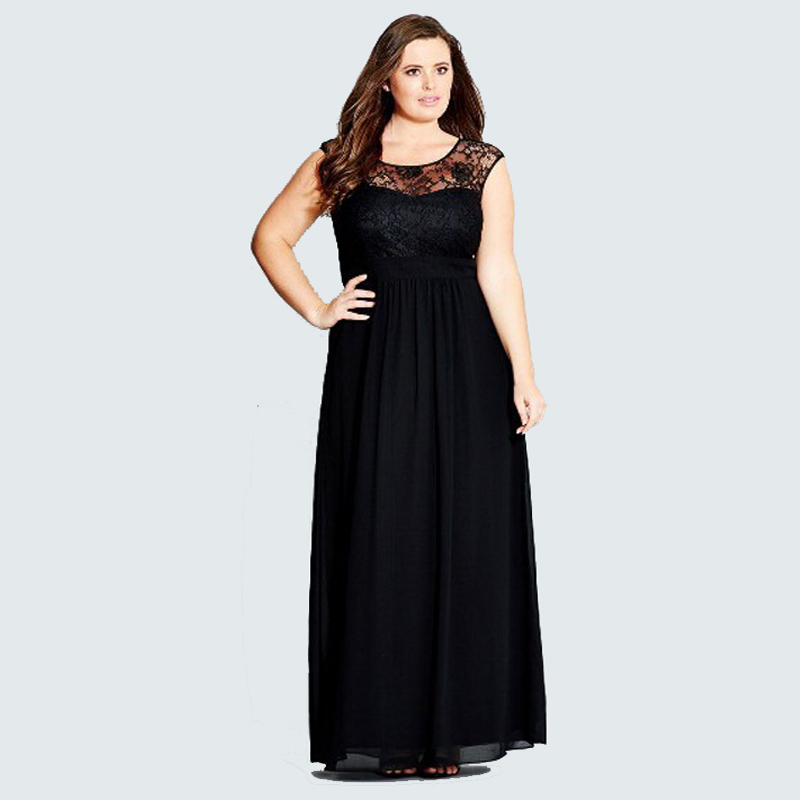 ladies big clothes 2015 summer women O-Neck Floor-Length party dress with lace casual dresses plus size women clothing XXXXL 5XL(China (Mainland))