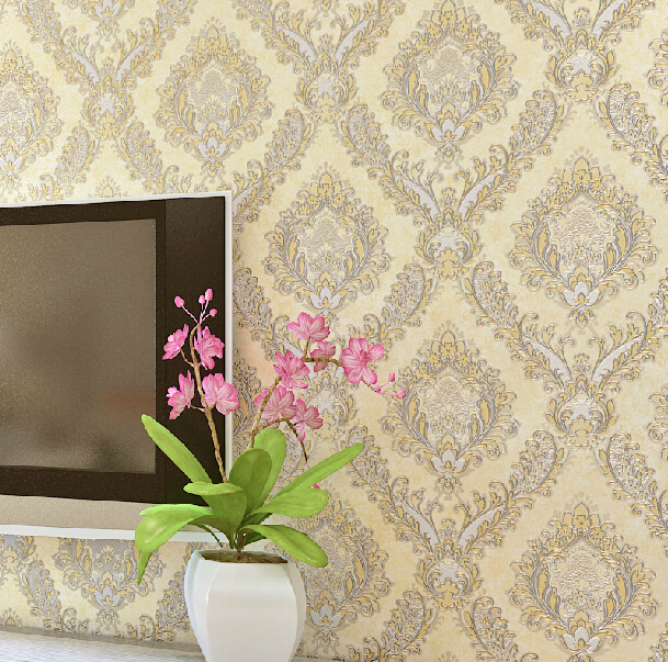 european damascus vintage floral wallpaper luxury metal crochet mural wall paper bedroom living. Black Bedroom Furniture Sets. Home Design Ideas