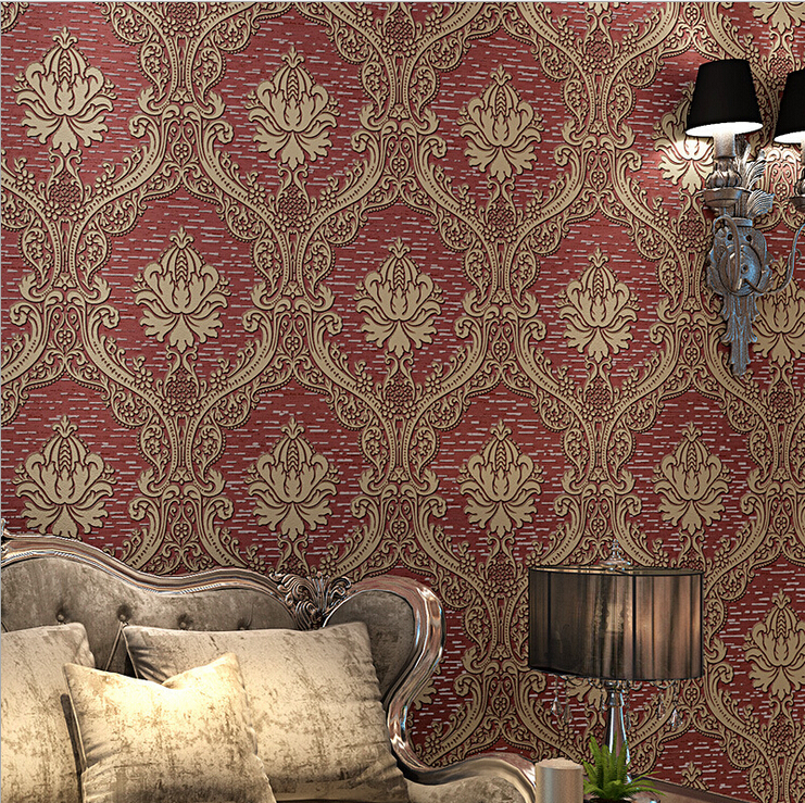 European luxury 3d wallpaper damask mural wall paper roll for Luxury 3d wallpaper