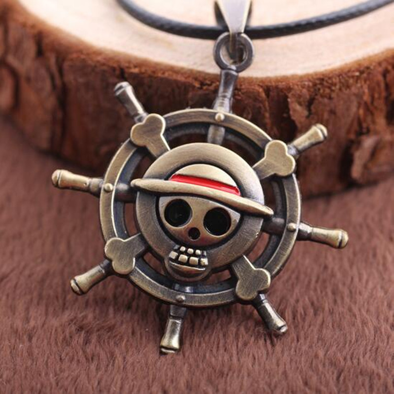 Animation Jewelry Fashion One Piece Necklace Collares Rudder Flag Simple Skeleton Bronze Pendant Rope Chain Necklace Men Jewelry(China (Mainland))