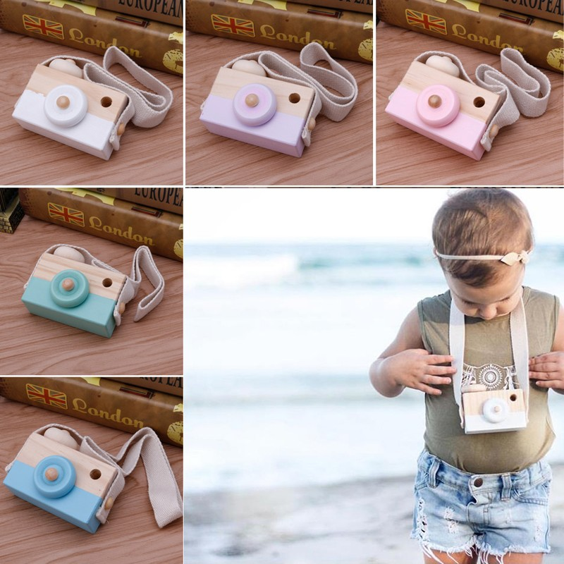 Baby Kids Cute Wooden Camera Toys Children Fashion Clothing Accessory Safe And Natural Toys Birthday Christmas 5 color Gifts