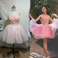 Prom Dresses Short 2017 Prom Gown 3d Flowers Pink Puffy Prom Dresses Fast Shipping Ball Gowns
