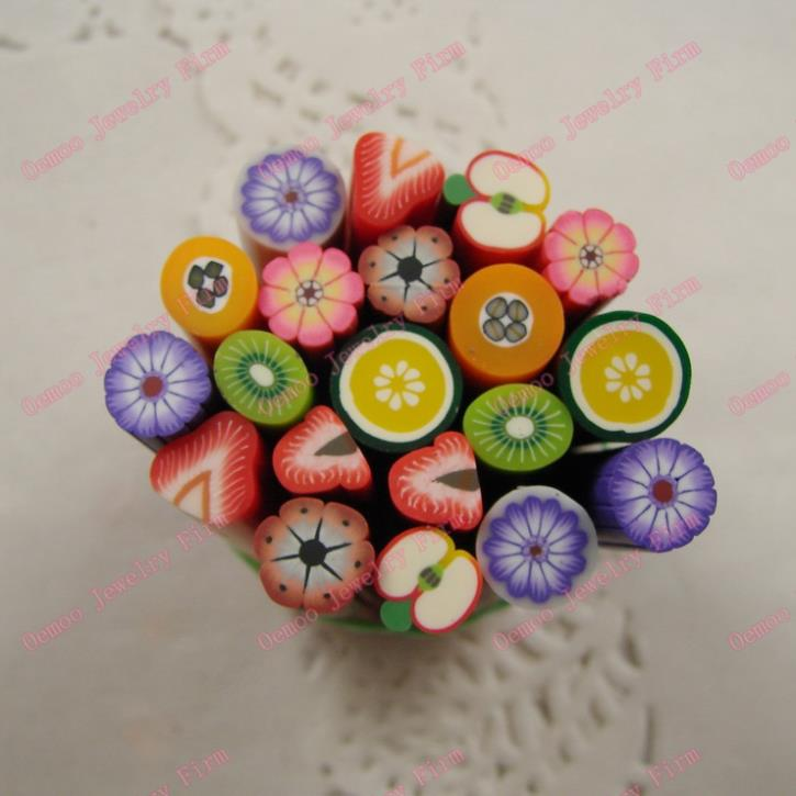 Mix designs 20pcs 3D Nail Art Nail Care Fimo Canes Rods Sticker Tips Decoration Fruit multicolour Also for Phone PC 071(China (Mainland))