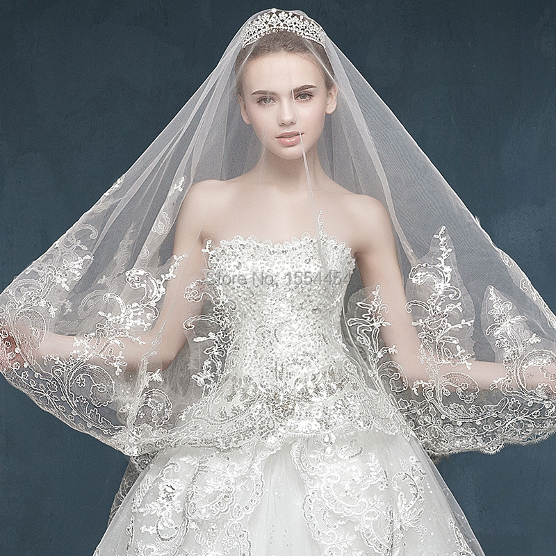 Free Shipping 2015 Luxurious White America Soft Tulle 3 Meters Length Cathedral Wedding Veil