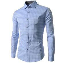 Hot 2016 good Quality 4XL Grid / Plaid Prints Fashion Mens Dress Shirts Slim Fit Long sleeve Casual Social Camisas Masculinas