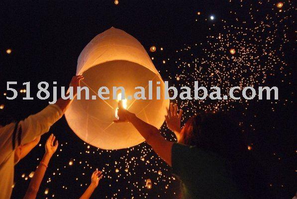 Wholesale - -wishing lamp/flying lantern/sky lanterns outdoor-flying festival celebration 300pcs /lot 300pcs/lot Free Shipping