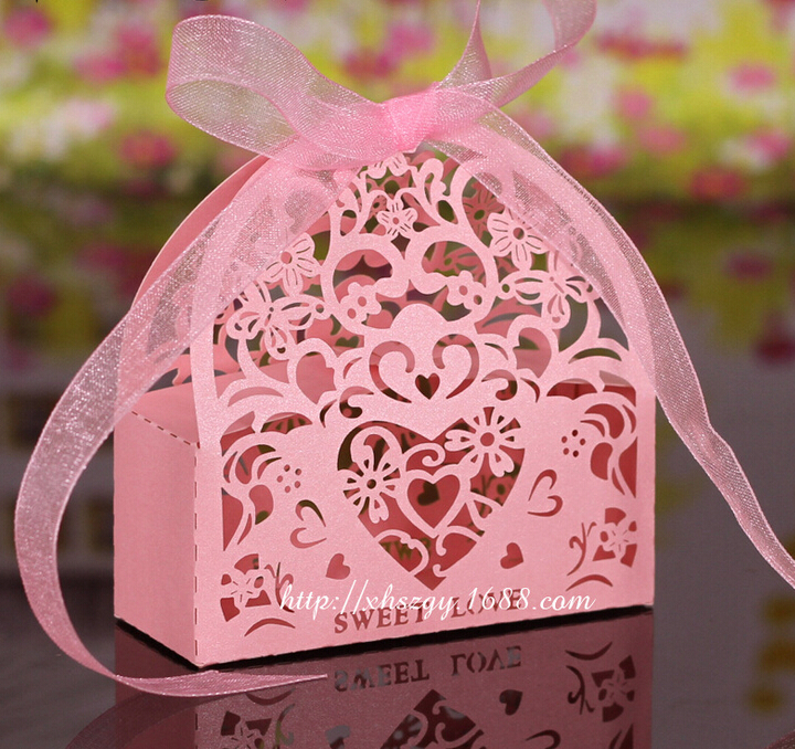 Laser Cut Lover Heart Flower wedding party favor box pearlescent candy show gifts paper - Case Kingdom store