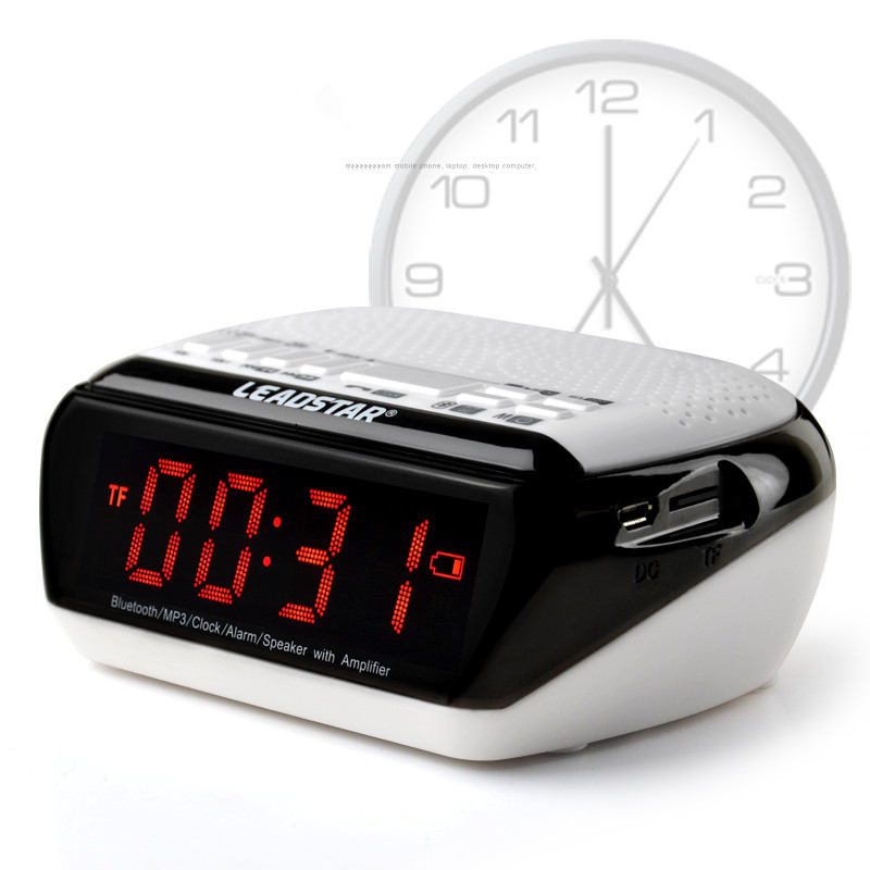 Wireless Bluetooth Speaker Clock display speaker Stereo Sound with USB TF Card Slot FM radio two Alarm Clock handfree Functions