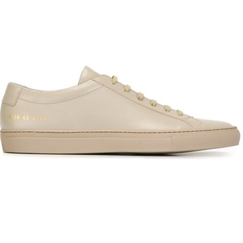 Фотография Italy Brand Common Projects Low Women Men Shoes Spring Autumn Bass Beige Genuine Leather Sheepskin Casual Shoes Uomini Mocassins
