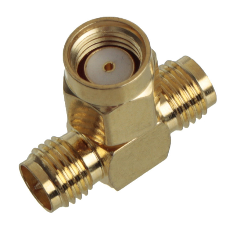 Brand New Excellent Quality Adapter SMA Connector Male To Two SMA Female Jack Triple T RF Connector Triple 1M2F(China (Mainland))
