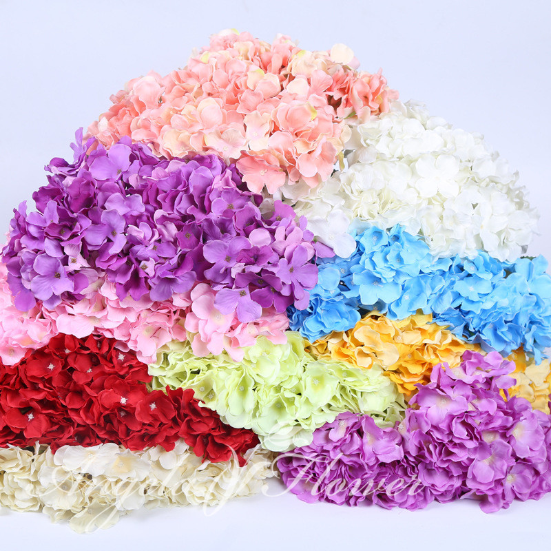 Colorful Silk Hydrangea Flowers artificial flower ball for Wedding Decoration Wall Adornment Party Decorations 7 heads/bouquet(China (Mainland))