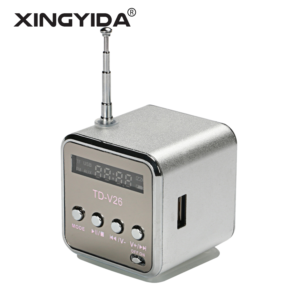 XINGYIDA TD-V26 Mini Portable Speaker Digital LCD Sound Box TF FM Radio Stereo LED Loudspeaker for Mobile Phone MP3/4 Player(China (Mainland))