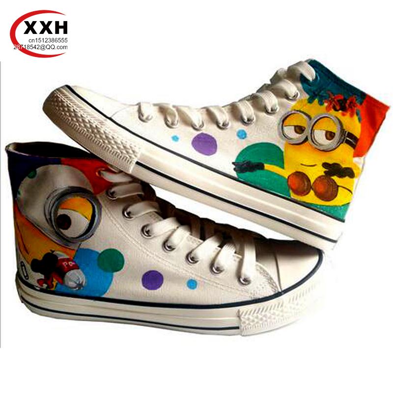 XXH 11 Styles Men Women Coulorful Despicable Me Minion Spongebob Monkey Hand Painted Canvas Graffiti Shoes for Boys Girls Mans<br><br>Aliexpress