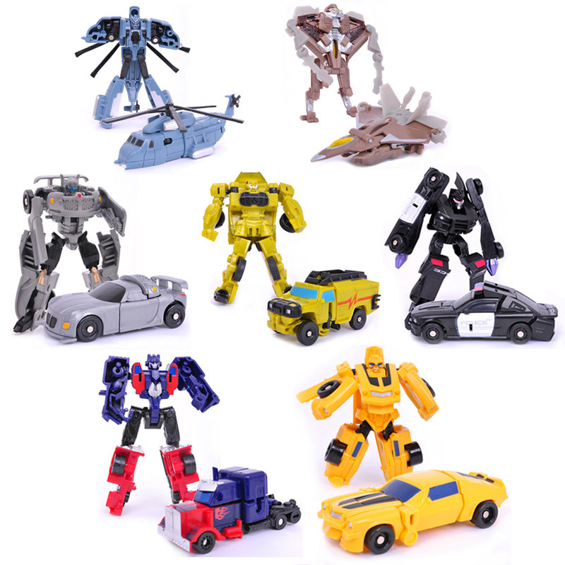 Transformation 7pcs/lot Kids Classic Robot Cars Toys For Children Action & Toy Figures(China (Mainland))