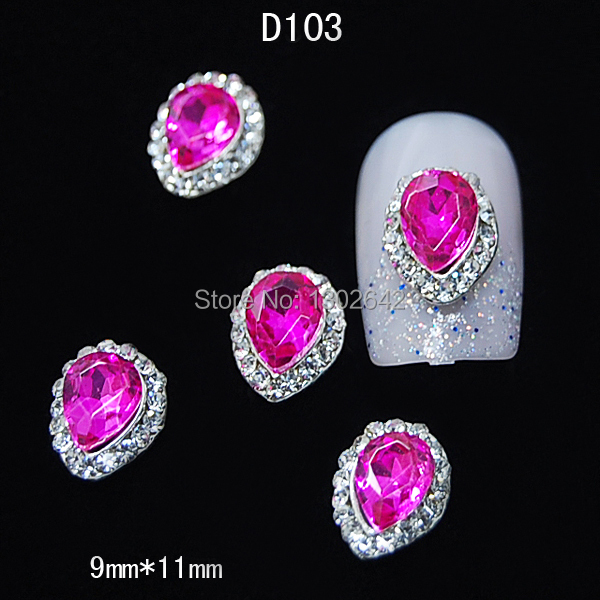D103 10pcs/lot Plum Crystal Water Drop With Rhinestone Line DIY Nail Art Glitters Nails Accessories Tips(China (Mainland))