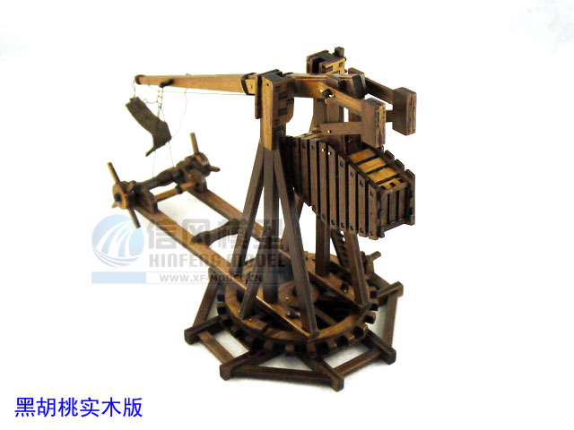 Classic wooden assembled set of materials The stone-throwing machine model series empire Black walnut version of DIY toys(China (Mainland))