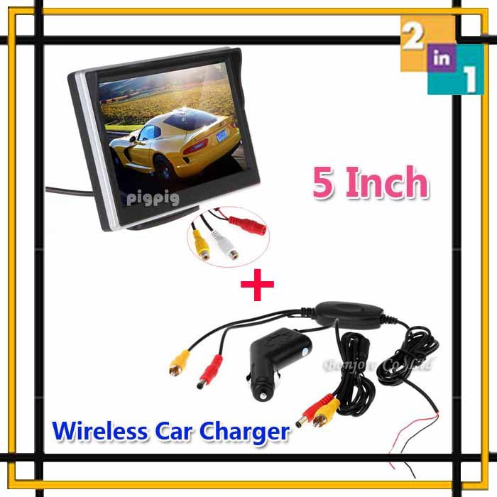 Auto Parking Assistance System 5 Digital TFT LCD Mirror Car Parking Rear Monitor With Wireless charger For car reversing camera(China (Mainland))