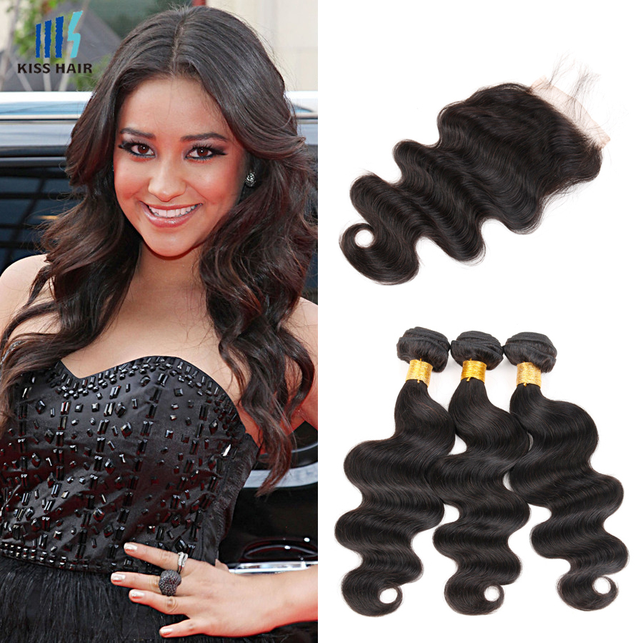 peruvian body wave with closure peruvian virgin hair with closure unprocessed virgin hair body wave lace closure with bundles<br><br>Aliexpress