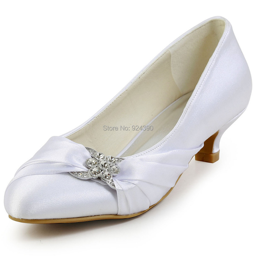 wedding shoes white ivory satin 4cm low heel