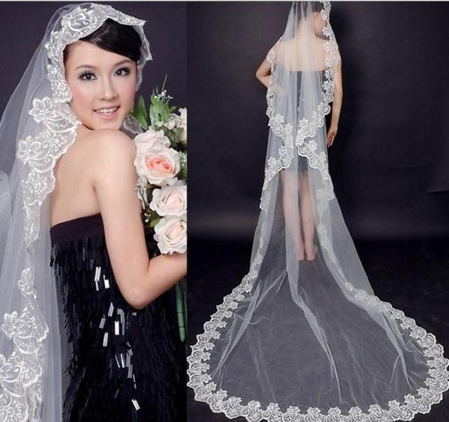 Дешевые Тюль Невесты Собор Длинные Свадебные Кружева Свадебное Покрывалами 3 М велос ...