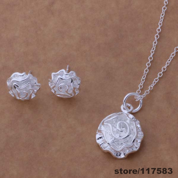 AS188 silver plated Jewelry sterling-silver-jewelry Sets Earring 141 + Necklace 301 /esaanjha dkyamcfa - Fancy True Love Trade Co.,Ltd store