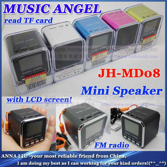 Portable Mini Speaker MUSIC ANGEL JH-MD08 stereo box support TFcard FM+LCD screen+original quality+ mobile speaker - ANNA L --BEST AS I CAN store
