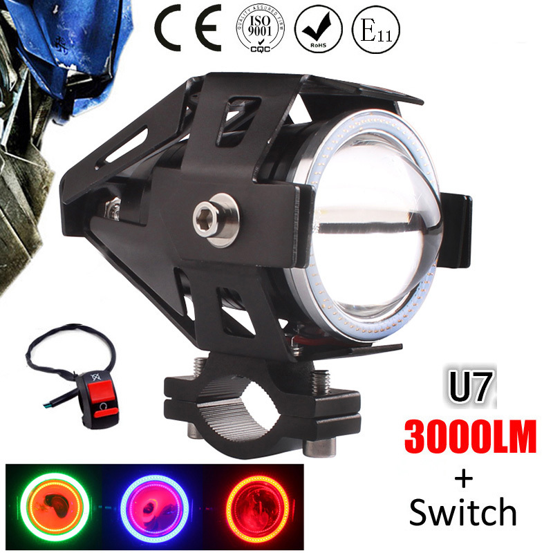 125W motorcycle spotlights auxiliary lamp super bright Cree led chip U7 car headlight accessories moto driving head light - Auto, electronic products store