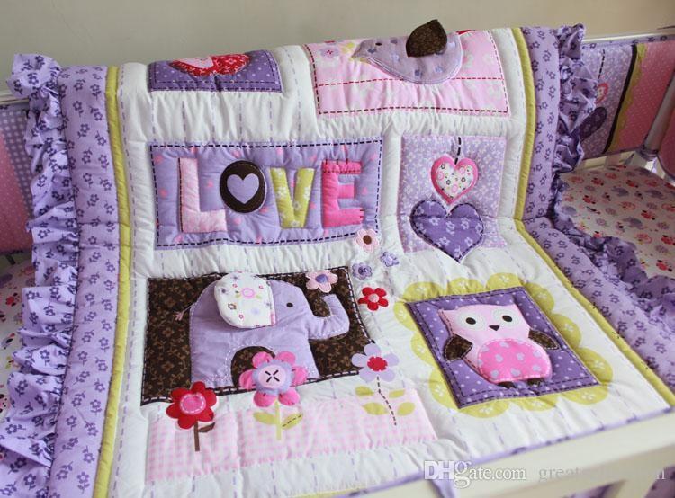 Purple-Animals-Girls-Baby-Crib-Bedding-set-3D-Embroidered-Owl-Elephant-Bird-Comforter-Bumpers-Sheet-Skirt (2)