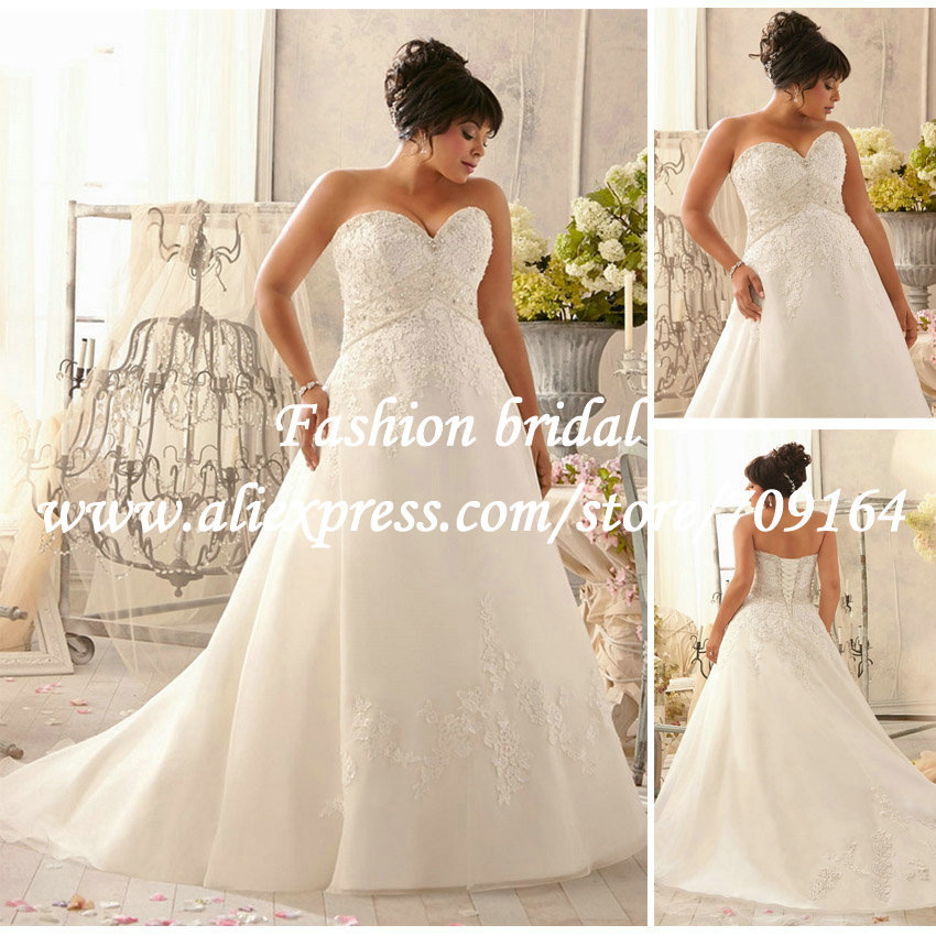 2014 plus size wedding dresses lace beaded a line bridal for Plus size beaded wedding dresses