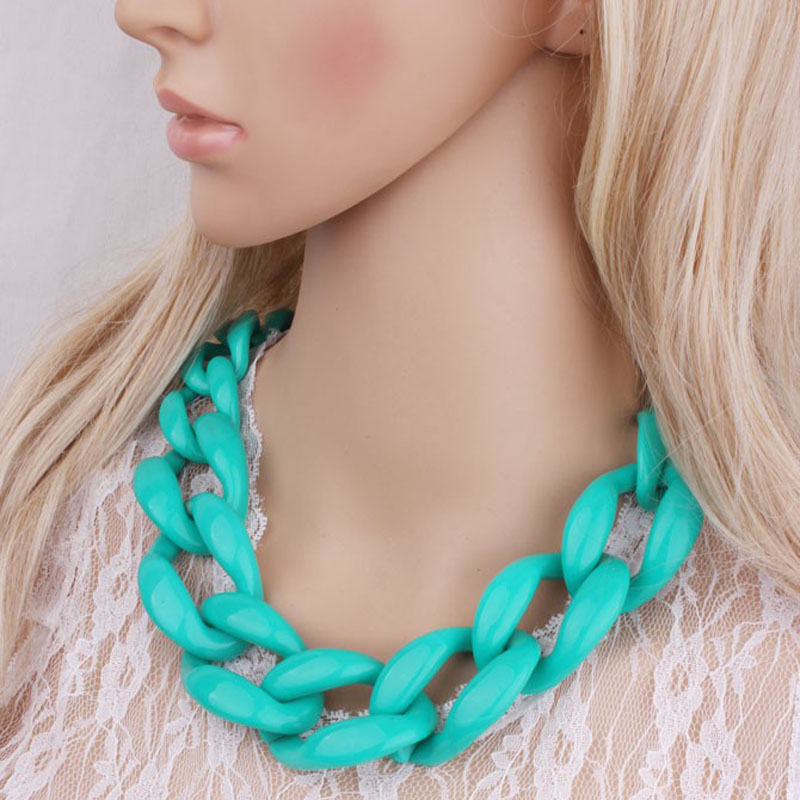 New Jewelry Statement necklace chain cord chunky choker necklace colors big chain necklace fashion jewelry women necklace(China (Mainland))