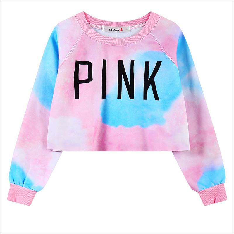 Harajuku style short pullover sweatshirt women long sleeve for Letters for sweatshirts