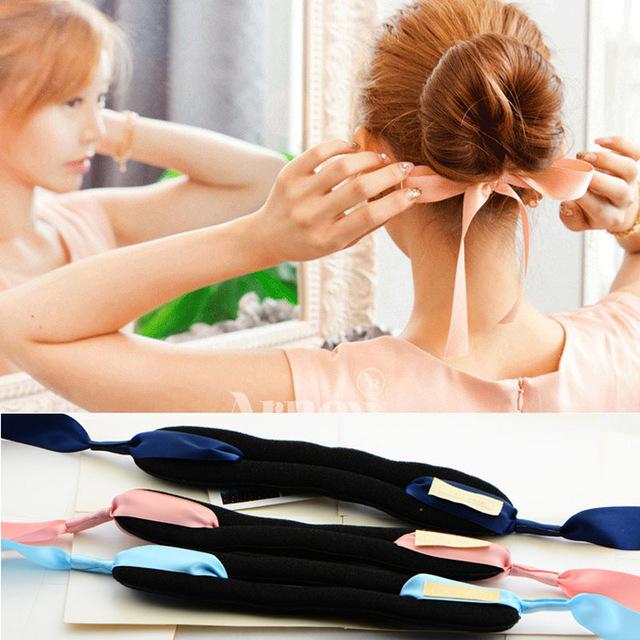 Korean 2016 New Bow Tools Foam Sponge Device Quick Donut Bun Hairstyle Silk Tie Hair Clips Accessories Women Scrunchy Headband(China (Mainland))