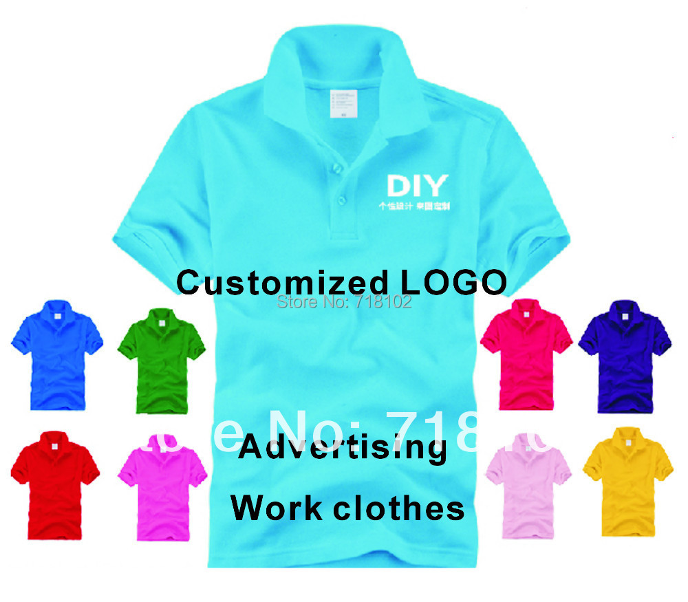 Free Shipping 100pcs/lot Enterprise Customized Pure Polo Advertising Clothing/Work Clothes 15 Color Option Printed LOGO(China (Mainland))