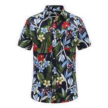2018 New Fashion Mens Short Sleeve Hawaiian Shirt Summer Casual Floral Beach Turn-down Collar Shirts For Men flower Clothing 3XL(China)