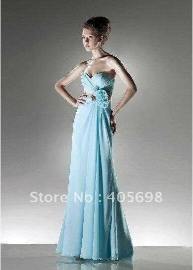 wholesale and retail hot sell sweethear light blue prom dress custom made