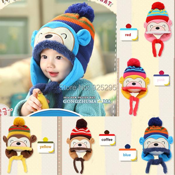 Winter Beanie Cap Kids Infant Cartoon Monkey Crochet Earflap Hat Neck Warmer(China (Mainland))