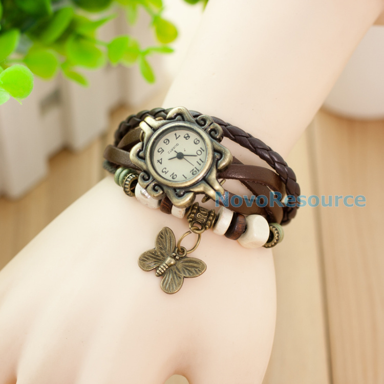 Гаджет  High Quality Women Genuine Leather Vintage Dress Watch bracelet Wristwatches butterfly,Free Shipping! None Часы